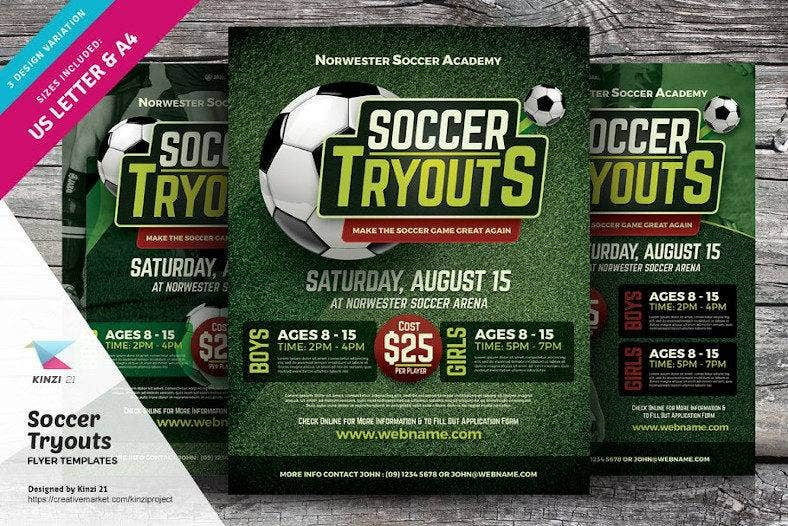 soccer tryouts flyer template 788x526