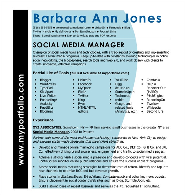 15+ Social Media Resumes Templates - PDF, DOC | Free