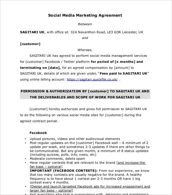 social media marketing agreement