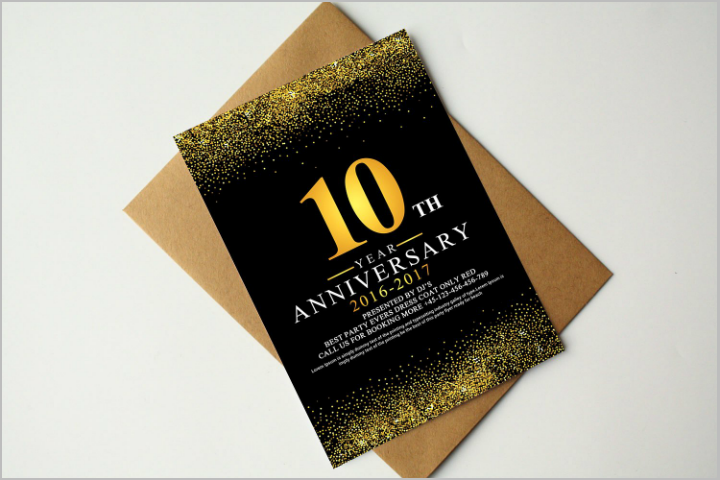 sparkly restaurant anniversary invitation rsvp template