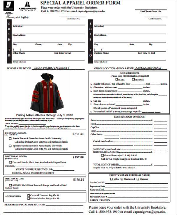 special apparel order form