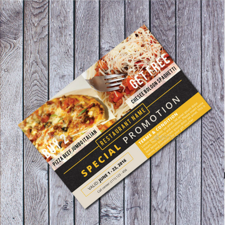 special restaurant promotion card template