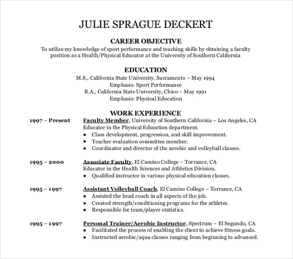 sport teaching resume template