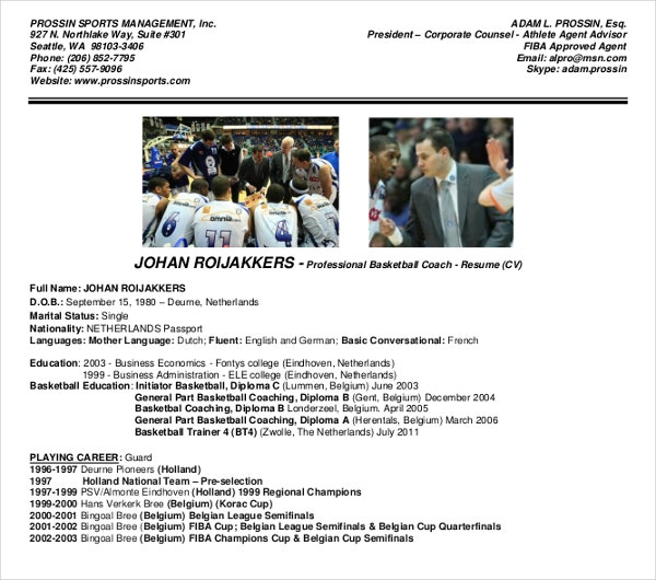 sports management coach resume