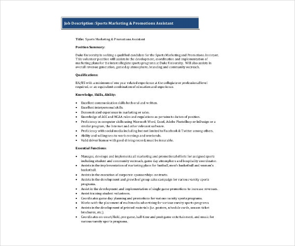 sports marketing assistant job description
