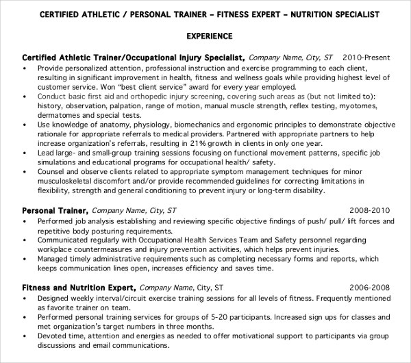 sports personal trainer resume template