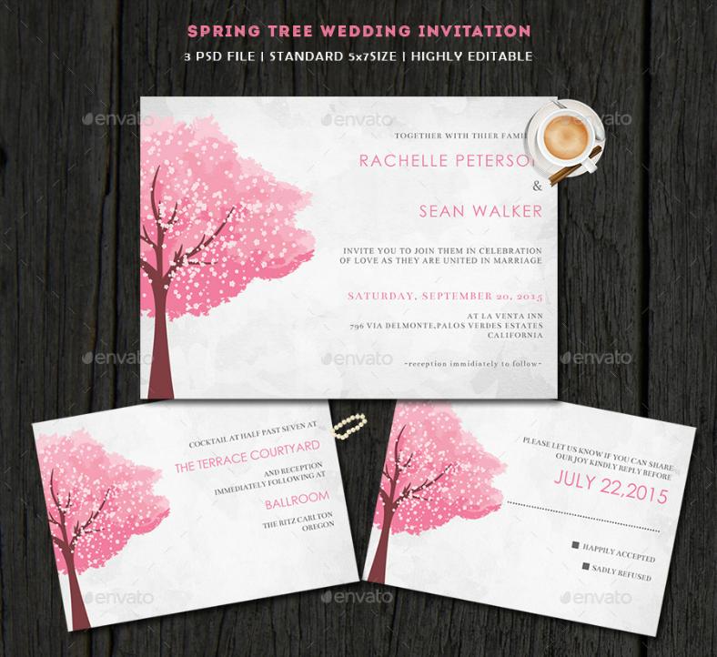 Spring Tree Wedding Invitation Template