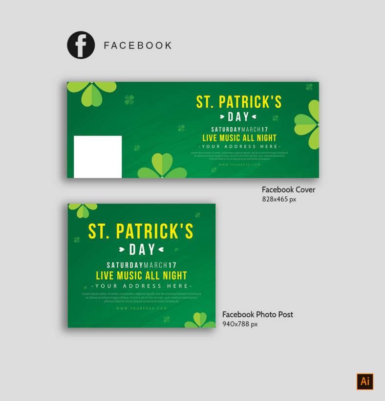 St Patrick's Facebook Template