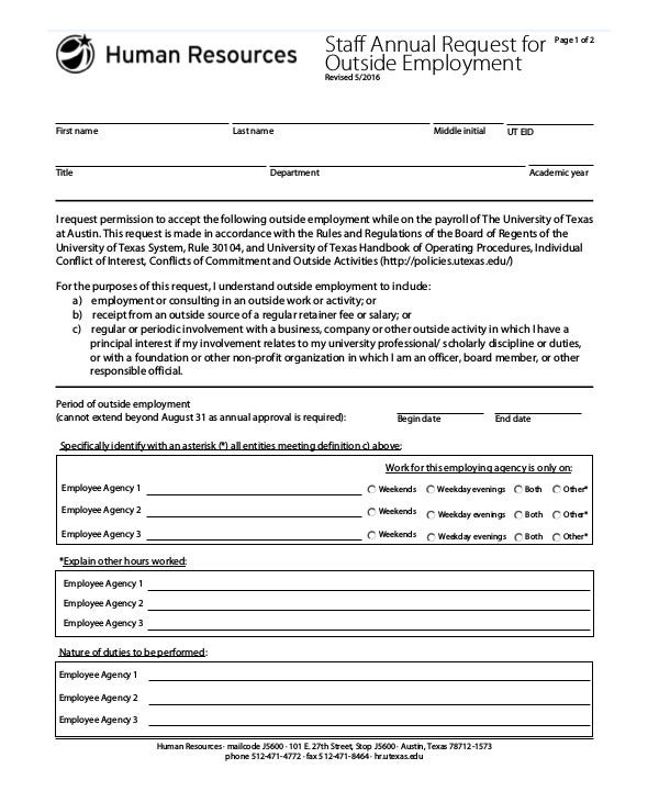 Outside Employment Form Templates  Pdf  Free  Premium Templates