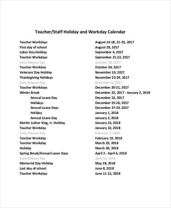 staff holiday and workday calendar