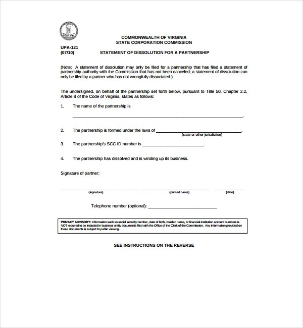 Statement of Dissolution for Partnership