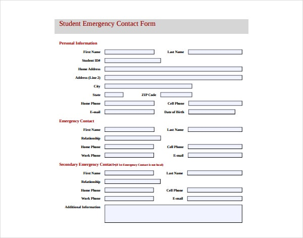 Student Emergency Information Form