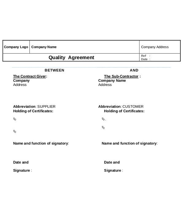 Sub Contractor Quality Agreement