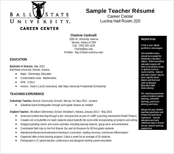 substitute sample teacher resume
