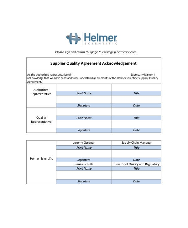 Supplier Quality Agreement Acknowledgement