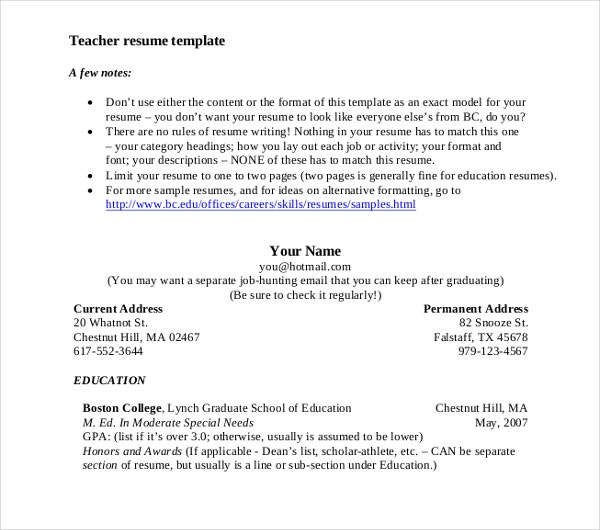 sustitute teacher resume example