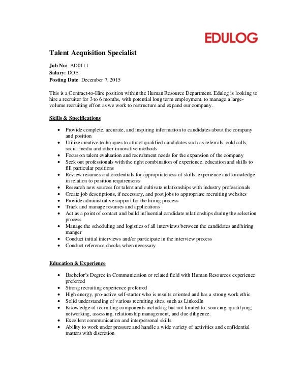 Talent Acquisition Job Description