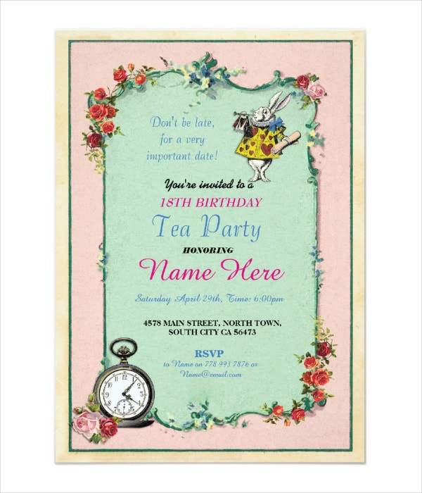Tea Party 18th Birthday Invitation Template