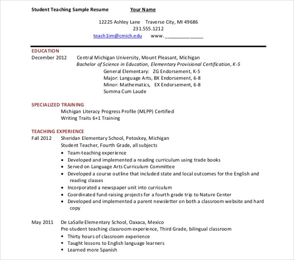 teaching experience resume template
