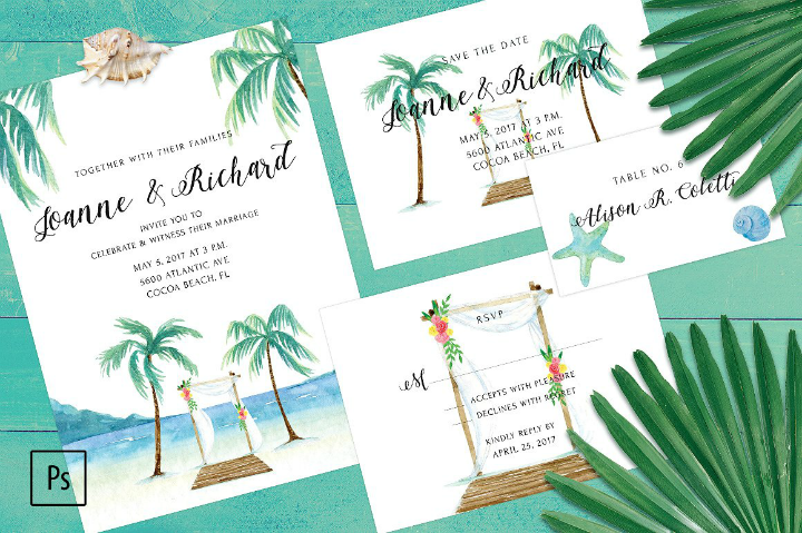 teal-palm-tree-printable-wedding-invitation-template-set