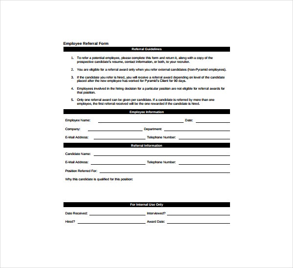 Templates Employee Referral Form  Free  Premium Templates