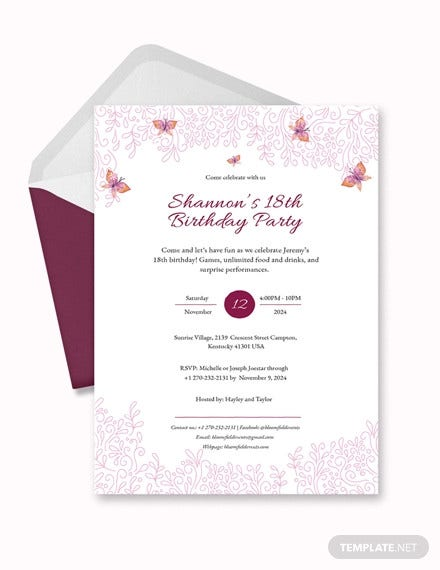 teenage birthday invitation. Details. File Format