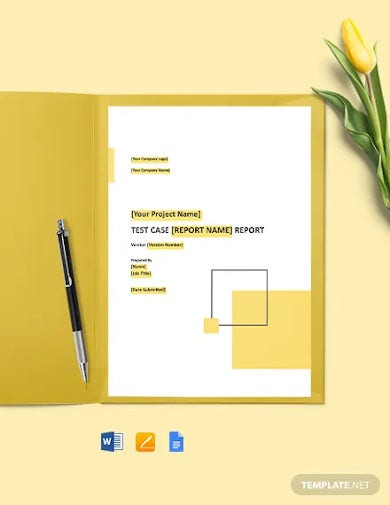 test case report template