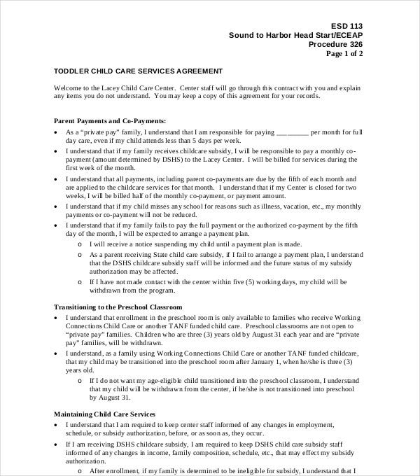 toddler child care services agreement