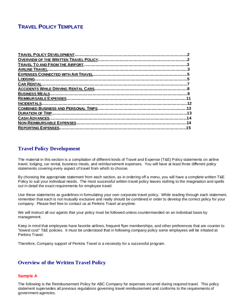 8 travel and expense policy templates pdf free for Company travel policy template