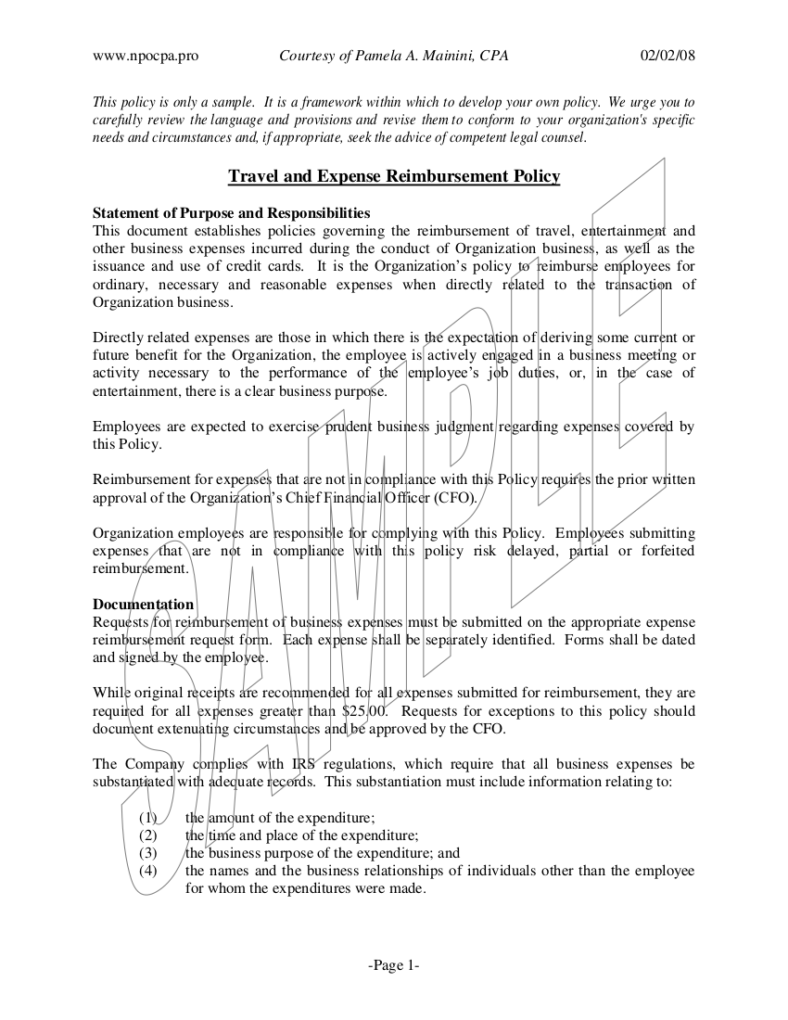 company travel policy template - 8 travel and expense policy templates pdf free