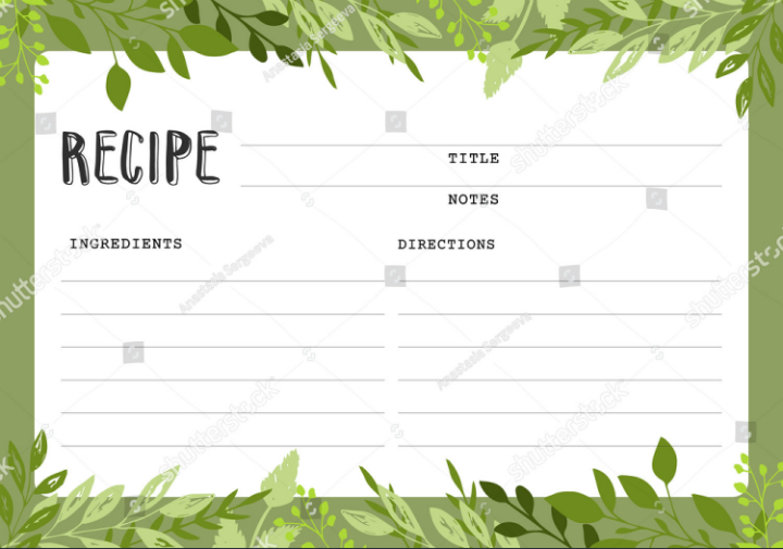 tropical-style-restaurant-recipe-card-template