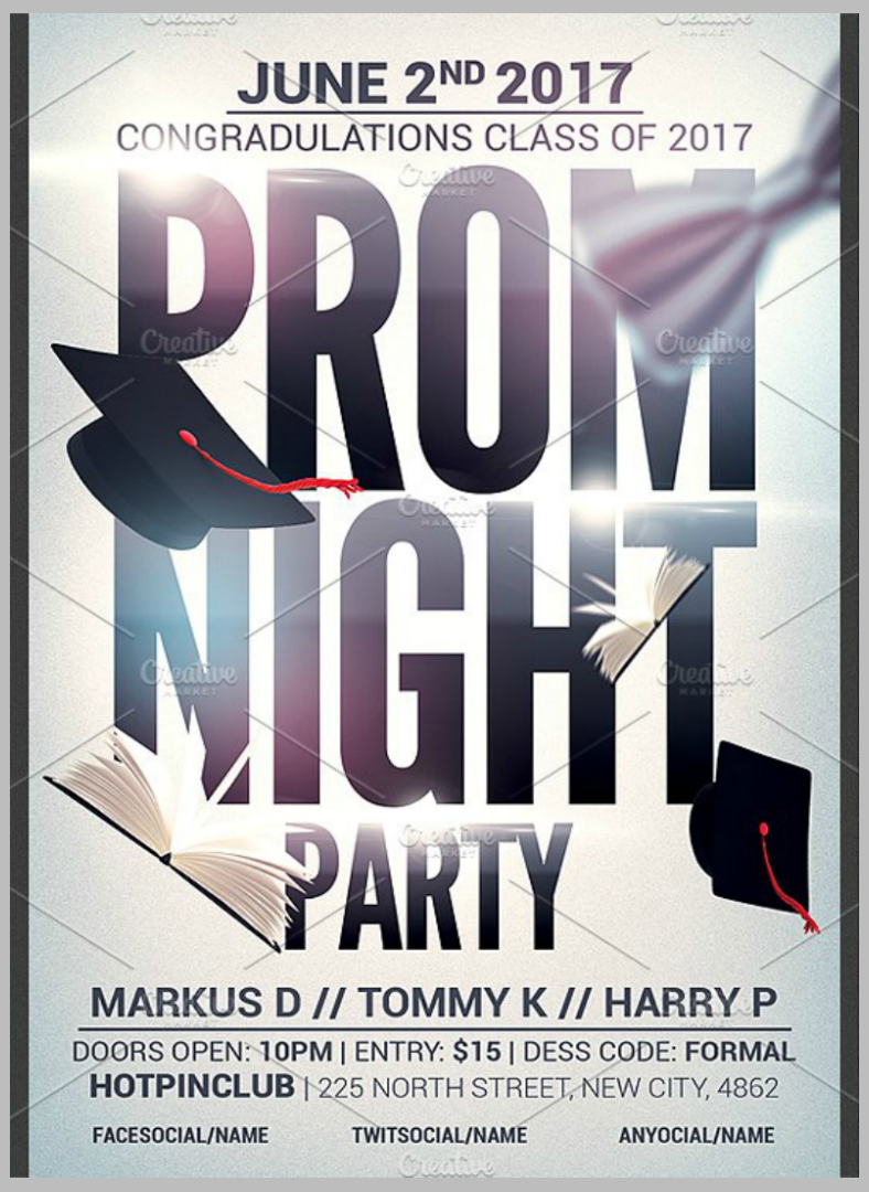 typographic prom night party flyer