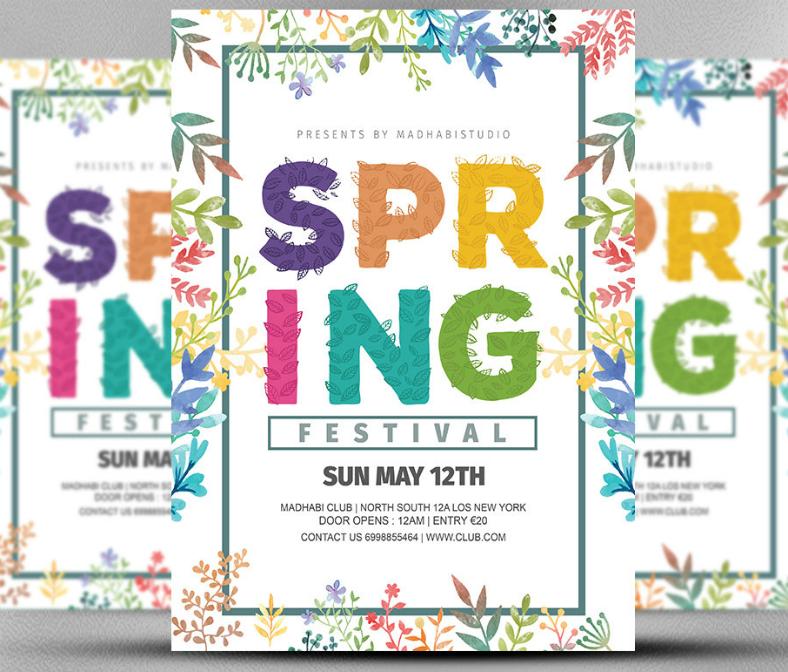Typographic Spring Festival Invitation
