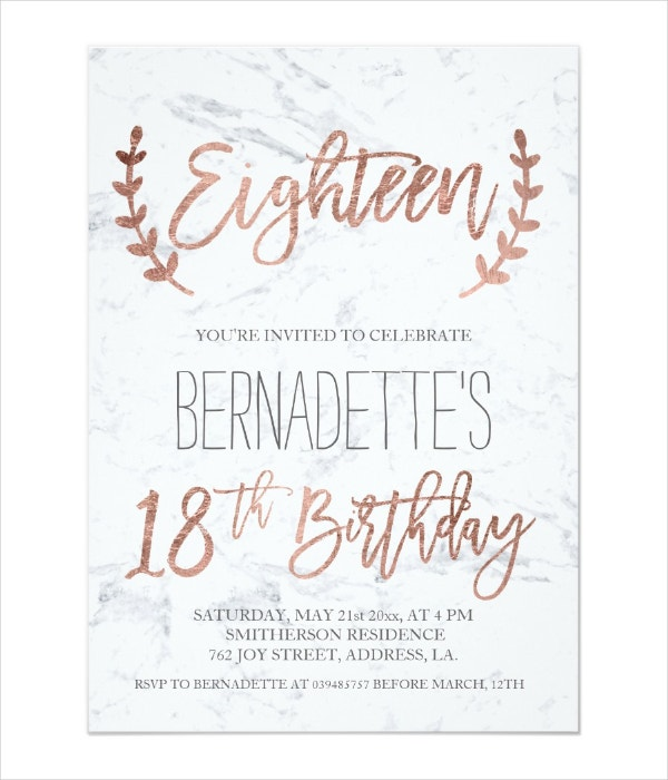 Typography 18th Birthday Invitation Template