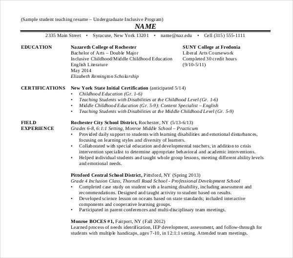undergraduate student teaching resume