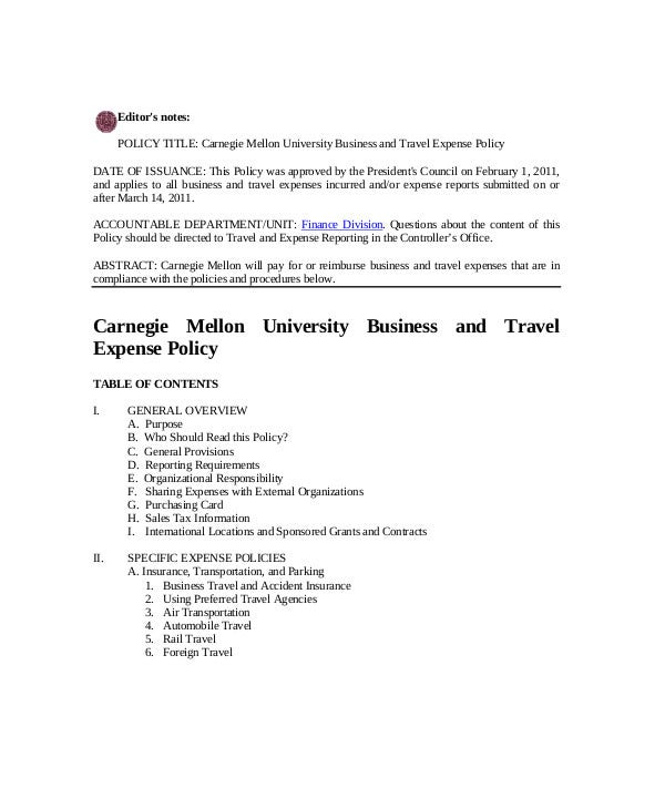 University Business and Travel Expense Policy
