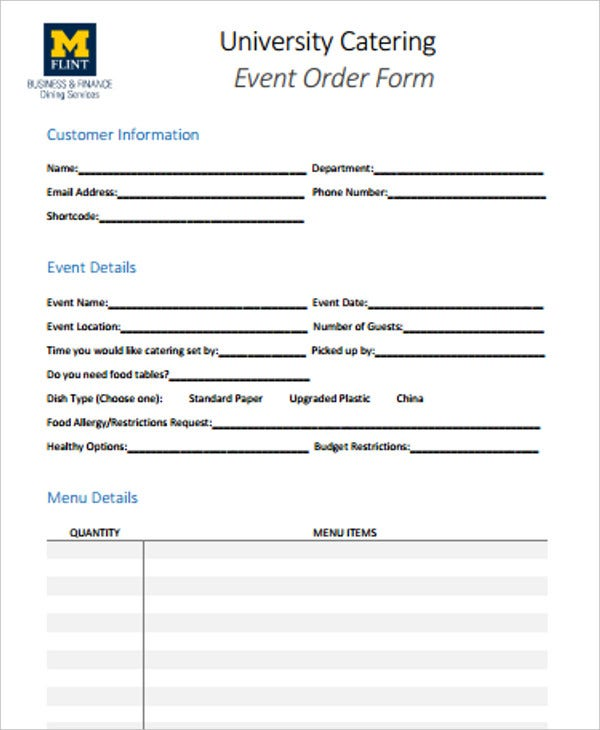 university catering event order form