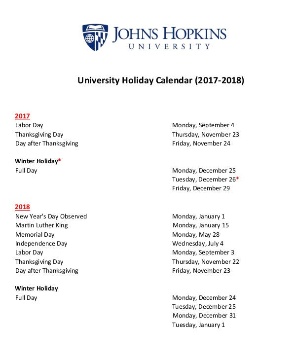 university holiday calendar