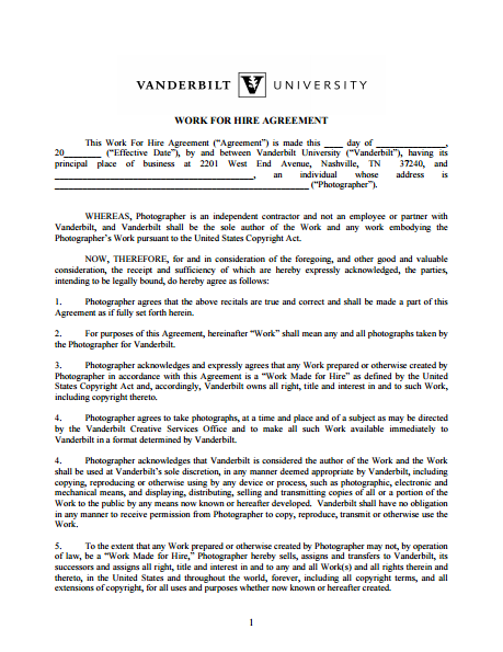 Vanderbilt University Work For Hire Agreement