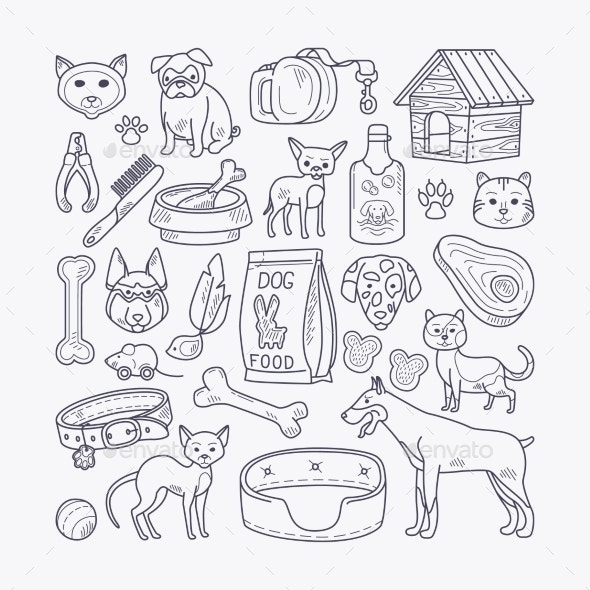 Vector Dog And Cat Sign