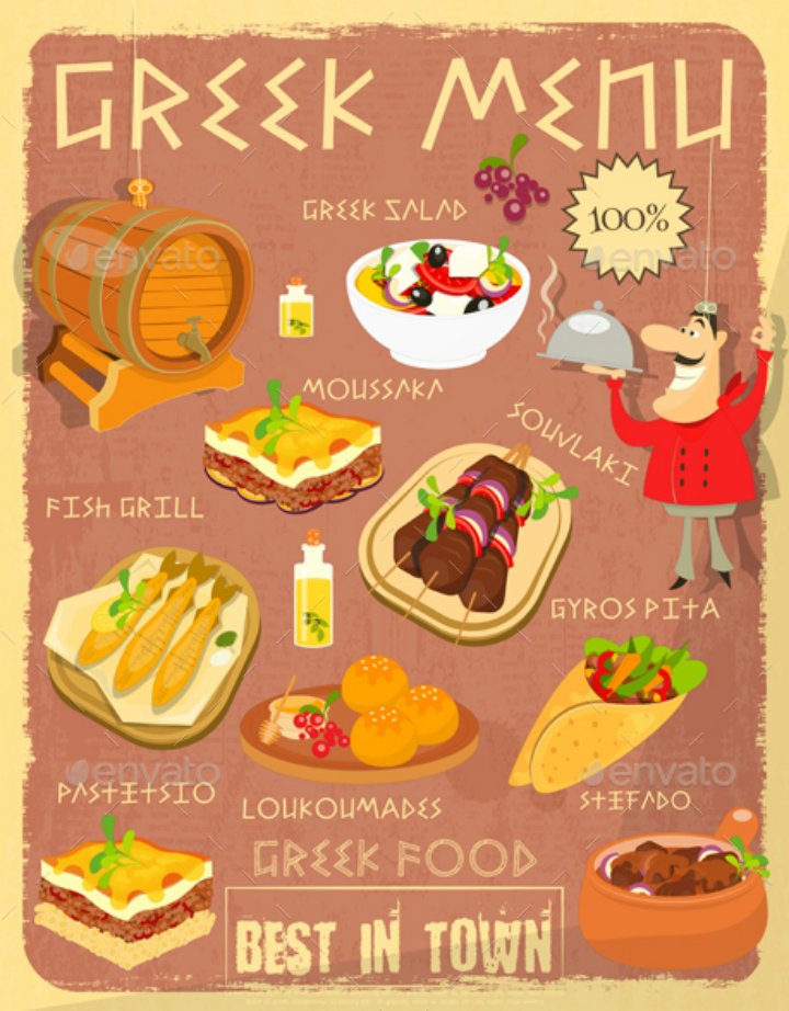 vector-greek-food-menu-template