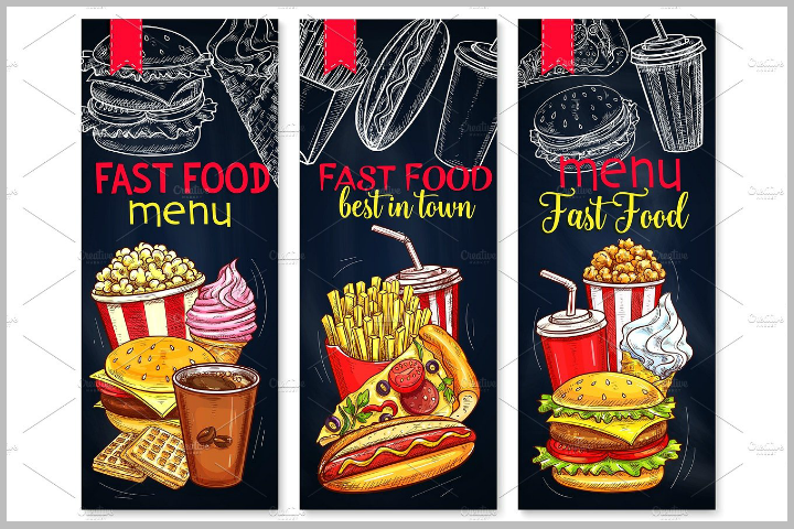 vertical fast food popcorn menu template