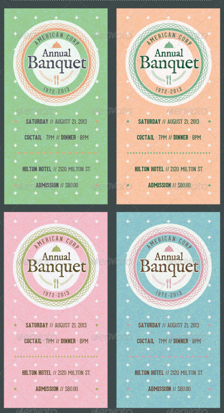 vintage restaurant banquet invitation ticket template