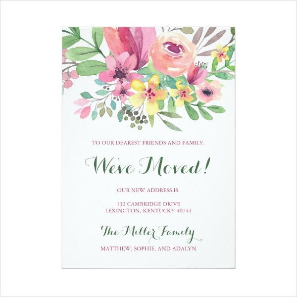 Watercolor Change of Address Card Template