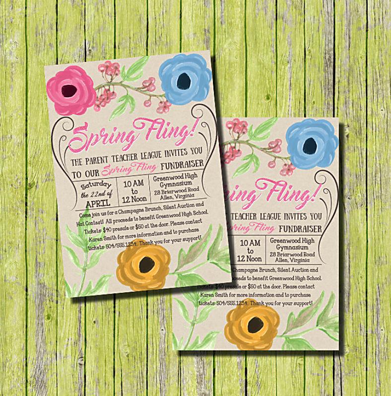 Watercolor Spring Fling Invitation