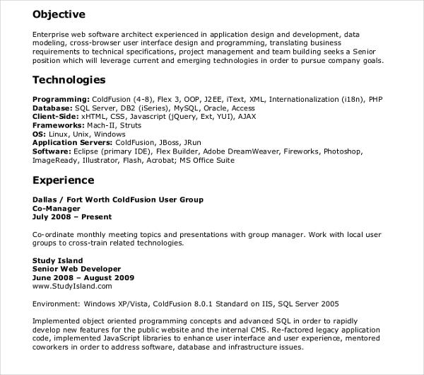 10 Web Developer Resume Templates PDF DOC Free Premium Templates