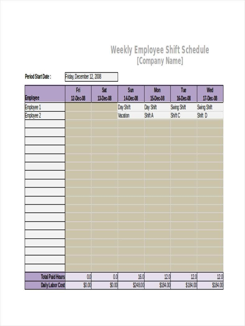 Weekly Shift Calendar