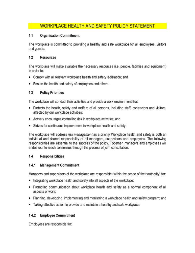 ohs management plan template - 8 free workplace safety policy templates pdf free