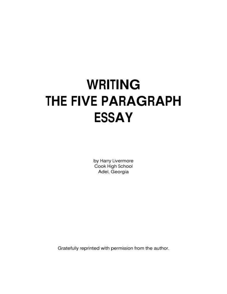 Writing the Paragraph Essay