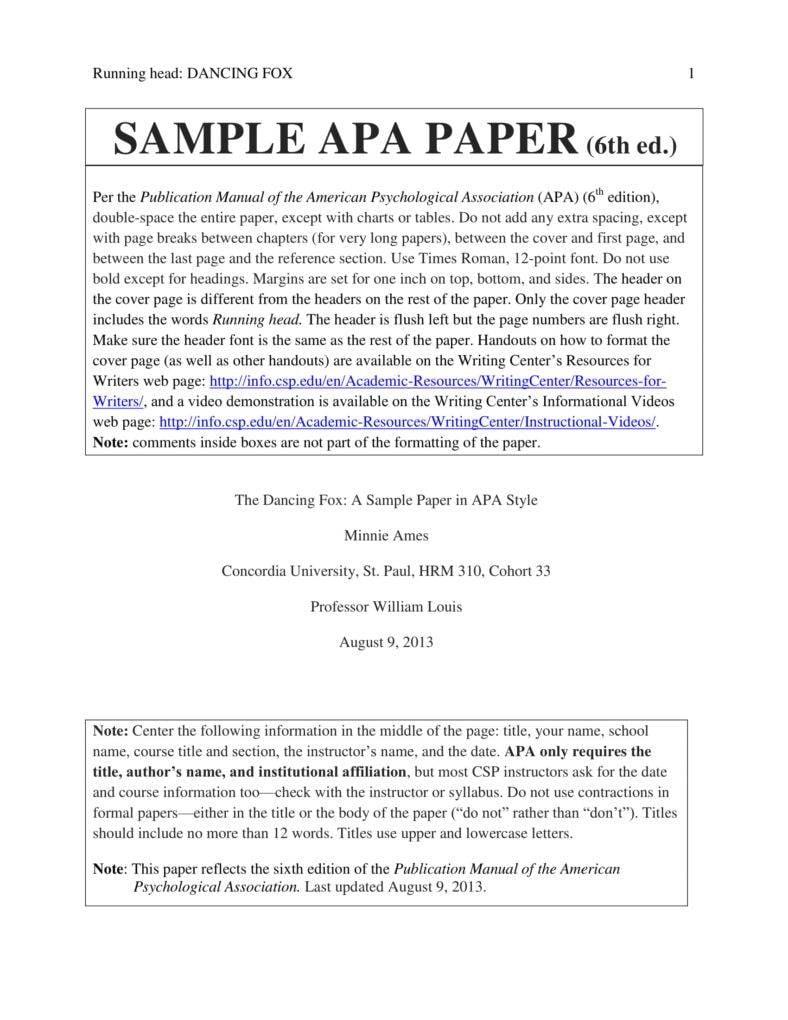 apa academic paper